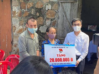 Xây dựng Nhà nhân ái cho gia đình bà Huỳnh Thị Tuyết sống tại Tổ 6 phường Ngọc Xuyên, quận Đồ Sơn.